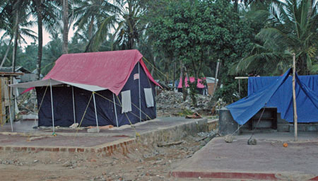 A tent on a concrete slab & Sri Lanka Journal 3 - A tent on a concrete slab